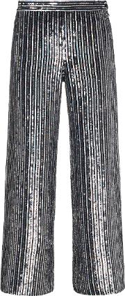 Sequin Embellished Stripe Flared Cropped Trousers