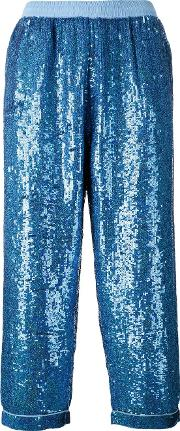 Sequin Embellished Trousers Women Cottonpolyestersequin M, Blue