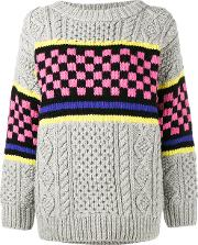 Chunky Checkerboard Knitted Jumper Women Lambs Wool S, Grey