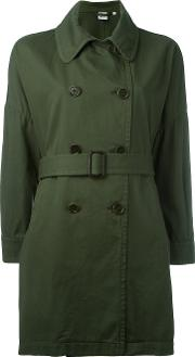 Belted Trench Coat Women Cotton L, Green