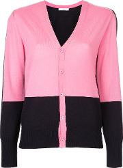 Astraet Contrast Button Up Cardigan Women Wool One Size, Pinkpurple