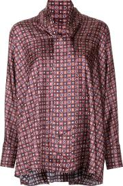 Astraet Tile Print Blouse Women Polyester One Size, Red