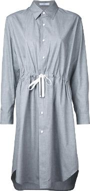 Belted Shirt Dress Women Cotton One Size, Grey