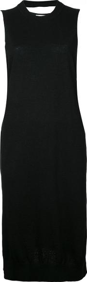 Crew Neck Knit Dress Women Hemp One Size, Black