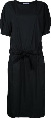 Drawstring Waist Dress Women Cotton 0, Black