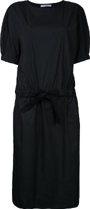 Drawstring Waist Dress Women Cotton 1, Black