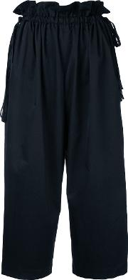 Loose Fit Cropped Trousers Women Polyester 1, Black
