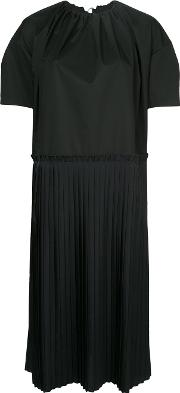 Poplin And Pleated Dress