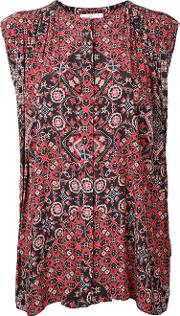 Printed Sleeveless Blouse Women Polyester One Size