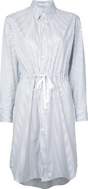 Striped Shirt Dress Women Cotton One Size, White