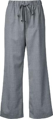 Wide Leg Cropped Trousers Women Polyester 00, Grey