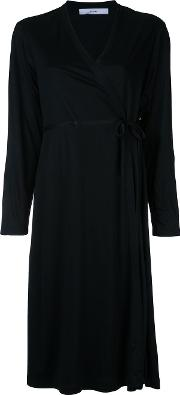 Wrap Dress Women Cupro One Size, Black