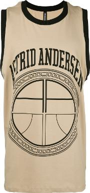 Logo Print Sleeveless T Shirt Men Cottonspandexelastane L, Nudeneutrals