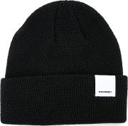 Folded Knitted Beanie Men Cotton One Size, Black