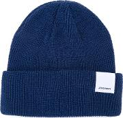 Folded Knitted Beanie Men Cotton One Size, Blue