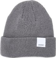 Folded Knitted Beanie Men Cotton One Size, Grey