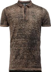 Distressed Knit Polo Shirt Men Linenflax L, Green
