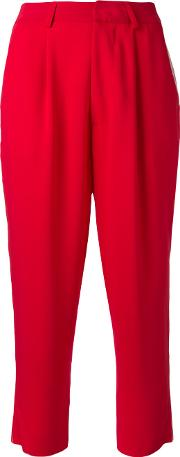 High Waisted Cropped Trousers Women Polyamidepolyesterspandexelastaneviscose 40, Women's, Red
