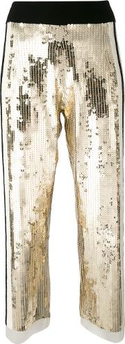 Sequins Detail Cropped Pants Women Cottonpolyamiderubber 40, Grey