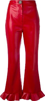 A.w.a.k.e. Cropped Flared Trousers Women Polyesterviscose 36, Red
