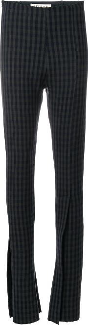 A.w.a.k.e. Gingham Print Slit Trousers Women Polyamidepolyesterspandexelastanevirgin Wool 36, Blue