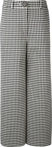 A.w.a.k.e. Houndstooth Palazzo Pants Women Cottonpolyesterpolyurethanewool 40, Black