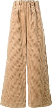 A.w.a.k.e. Ribbed Palazzo Pants Women Cotton M, Nudeneutrals