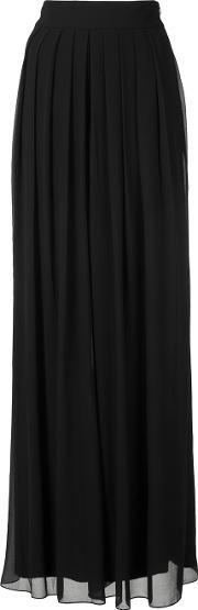 Pleated Sheer Palazzo Trousers Women Polyester 6, Black