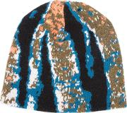 Abstract Tiger Stripe Beanie Unisex Cashmere One Size, Blue