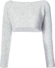 Cropped Ribbed Jumper Women Cashmere 1, Grey