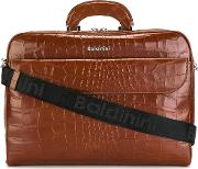 Crocodile Skin Effect Briefcase Men Leather One Size, Brown