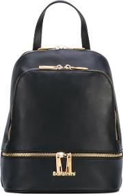 Zip Backpack Women Leather One Size, Black