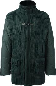 Zip Up Padded Coat Men Cottonfeather Downpolyamidelamb Nubuck Leather 56, Green