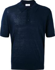 Knitted Polo Shirt Men Silklinenflax 54, Blue