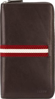 Elongated Zipped Wallet Men Cottonleather One Size, Brown