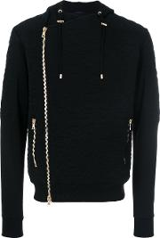 Balmain Camouflage Embroidered Hoodie Men Cottonpolyester L, Black