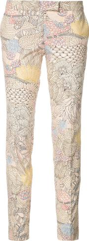 Embroidered Skinny Trousers Women Cotton 40, Pinkpurple