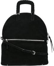 Lace Up Handles Tote Women Polyestersuede One Size, Black