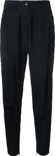 Zipped Ankles Cropped Trousers Women Silk 38, Black