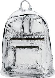 Distressed Backpack Unisex Leathercotton One Size White