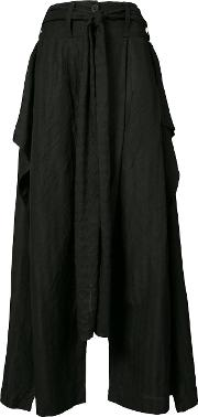 Draped Wide Leg Trousers Women Cotton 34, Black