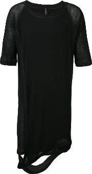 Elongated Split T Shirt Men Lyocellwool L, Black