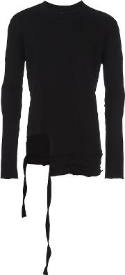 Longsleeved Asymmetric T Shirt Men Cotton 48, Black
