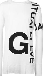 Printed Longsleeved T Shirt Men Cottonmodal 46, White