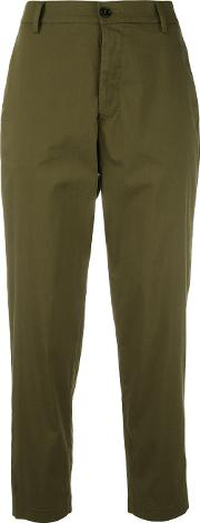 Cropped Trousers Women Cottonnylonspandexelastane 40, Green