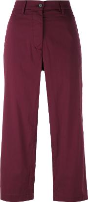 Cropped Trousers Women Cottonpolyamidespandexelastane 40, Women's, Red