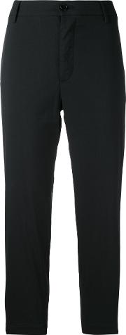 Cropped Trousers Women Cottonpolyamidespandexelastane 42, Black