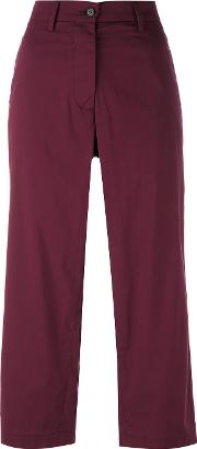 Cropped Trousers Women Cottonpolyamidespandexelastane 42, Red