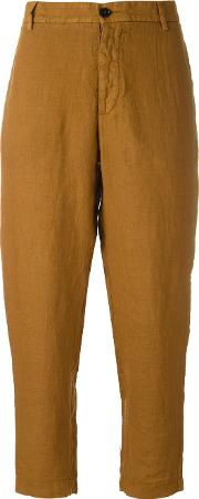 Cropped Trousers Women Linenflax 44, Brown