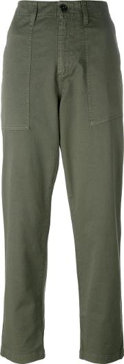 High Rise Trousers Women Cottonspandexelastane 40, Green